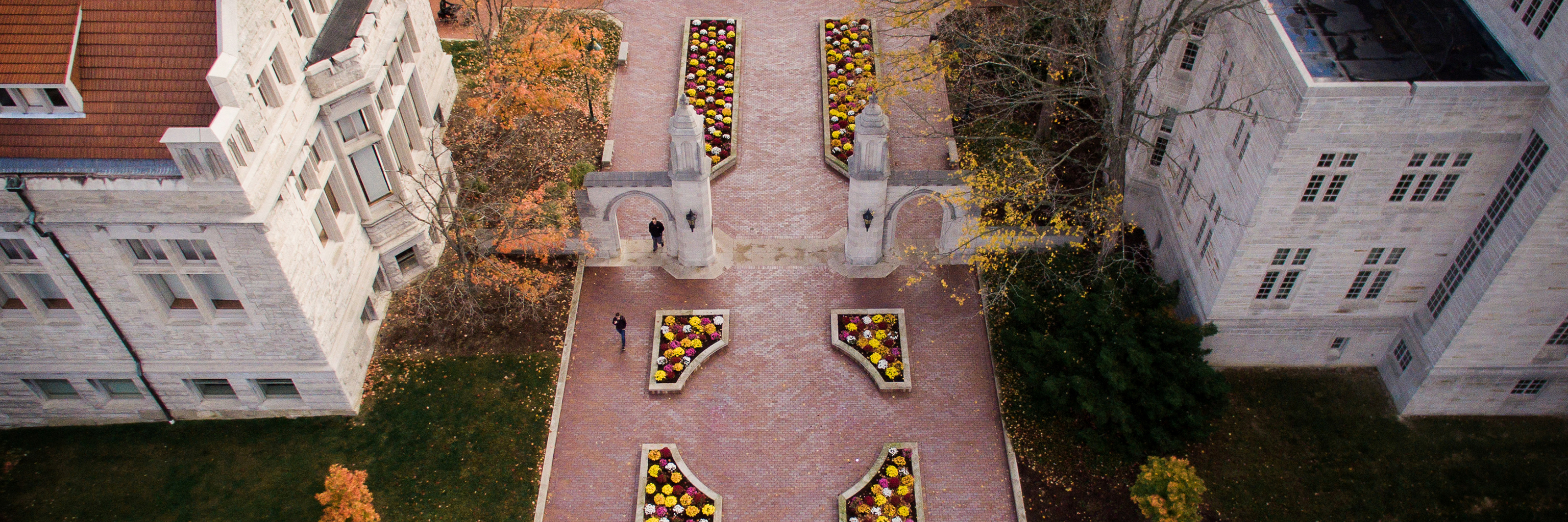 Aerial view of the Sample Gates on the Indiana University Bloomington campus in the fall season.