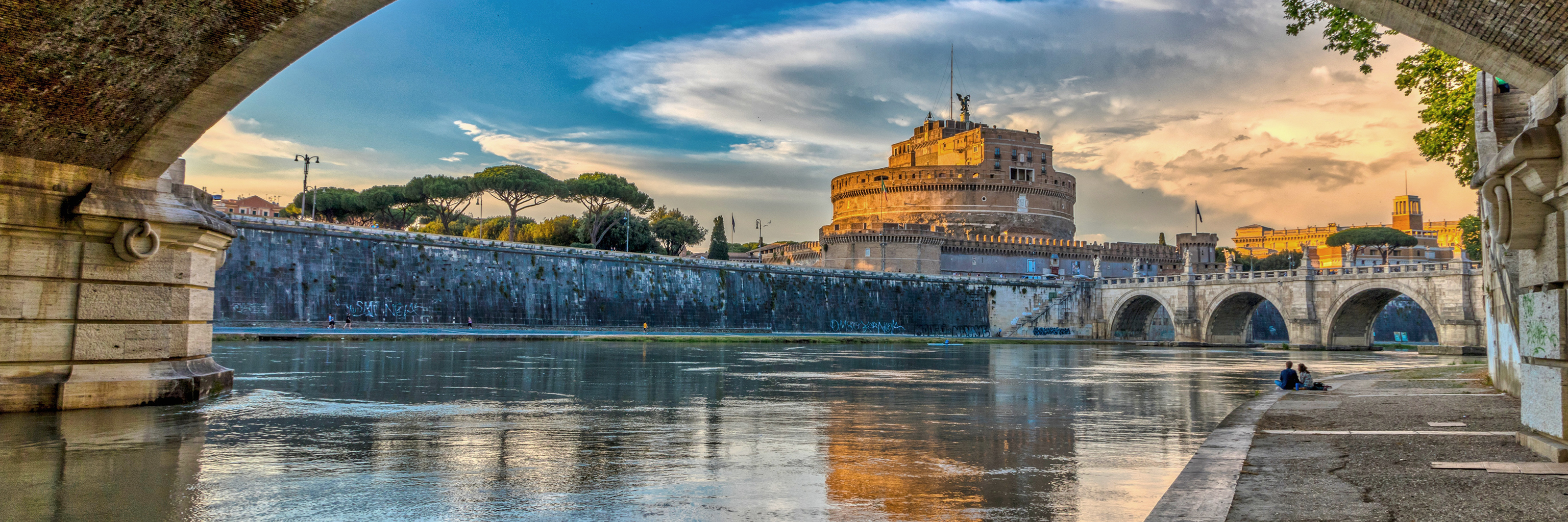 A scenic view of the Mausoleum of Hadrian, usually known as Castel Sant'Angelo, in Rome Italy.