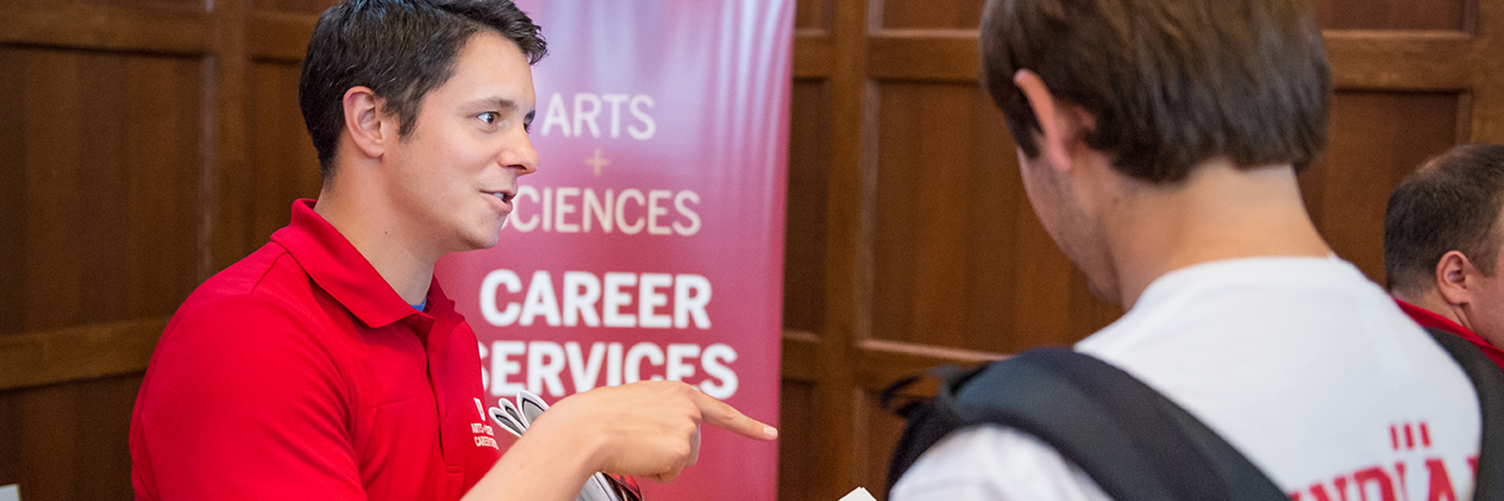 A Indiana University Career Services staff member offers advice to undergraduate students.