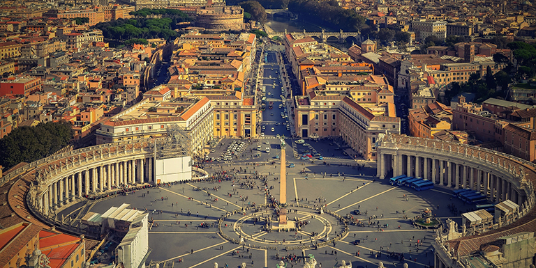 Aerial view of Rome's city square
