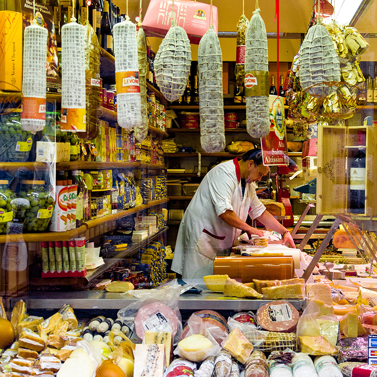 view inside a butcher shop in Italy
